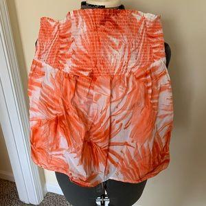 Orange Palm Print Tube Top